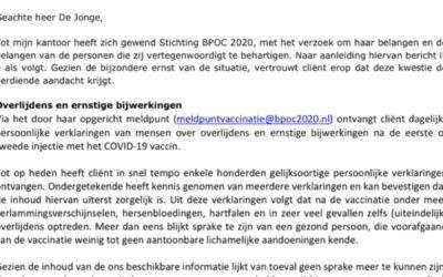 Nederland eist stopzetting vaccinatiecampagne omwille van gezondheidsschade en overlijden na vaccinatie